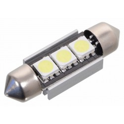 Žiarovka 3 SMD LED 12V SUF. SV8.5 38mm s rezistorom CAN-BUS ready biela